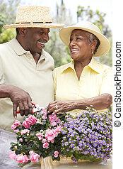 3º edad, jardinería, pareja, juntos