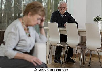 3º edad, matrimonio, teniendo, problemas, en, relación