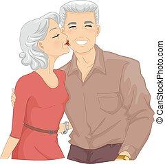 3º edad, mejilla, pareja, beso