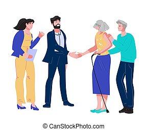 3º edad, público, anciano, herencia, visita, notary, pareja, o, testamento, document.