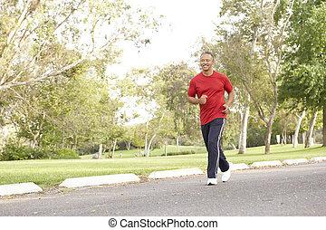 3º edad, parque, jogging, hombre