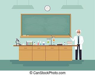 3º edad, profesor de ciencia, enseñanza, estudiante, en, classroom.