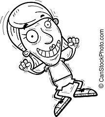 3º edad, saltar, caricatura, ciudadano