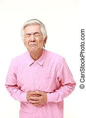 3º edad, sufre,  Stomachache, hombre, japonés