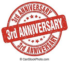 3rd anniversary red grunge stamp