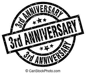 3rd anniversary round grunge black stamp