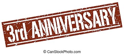 3rd anniversary square grunge stamp
