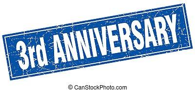 3rd anniversary square stamp