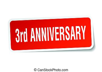 3rd anniversary square sticker on white