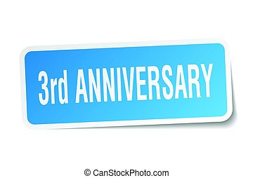 3rd anniversary square sticker on white