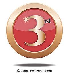 3rd, lugar, bronze, ícone