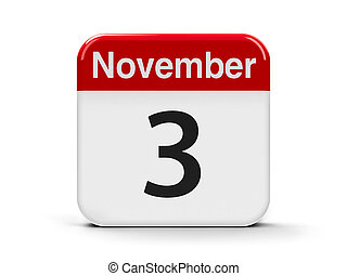 3rd November - Calendar web button - The Third of November,...