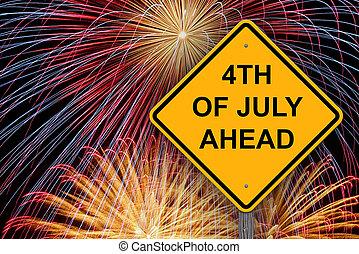 4ème, avertissement, devant, juillet, signe