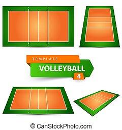 4つの項目, court., template., バレーボール
