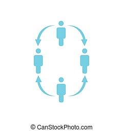 。, 4人の人々, ビジネス, 階層, concept., 仕事, 矢, 隔離された, イラスト, 下方に, バックグラウンド。, ベクトル, チーム, レポート, アイコン, 白, 会社, 構造