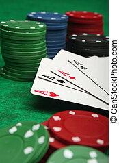 4枚のエース, ∥で∥, 賭けることは 欠ける, 上に, 緑のフェルト