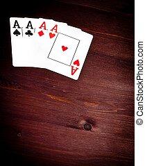 4枚のエース, トランプ, ∥で∥, スペース, ∥ために∥, テキスト, 概念, の, ポーカー, ゲーム, テキサス