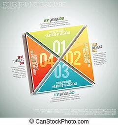 4正方形, 三角形, infographic