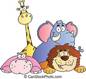 4 állat, dzsungel