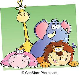 4 állat, karikatúra, dzsungel