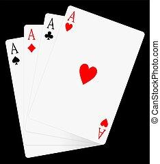 4 ász, kártya., ász, kártya