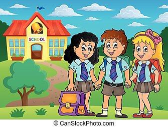 4, école, thème, image, élèves