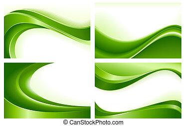 4 , αφαιρώ , πράσινο , κύμα , φόντο