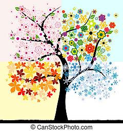 4, время года, дерево