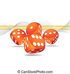 4, ギャンブル, さいころ, イラスト, 赤