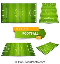 4, サッカー, court., フットボール, items.