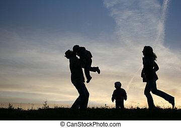 4, シルエット, 家族