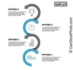 4, ステップ, ベクトル, テンプレート, infographic