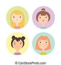 4, セット, 女の子, faces.