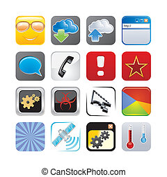 4, セット, apps, アイコン