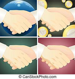4, セット, handshaks, に対して, diffe