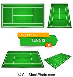 4, テニスコート, template.