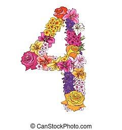 4, ディジット, 作られた, の, 別, flowers., 花, 要素, の, カラフルである, アルファベット, 作られた, から, flowers., ベクトル, イラスト