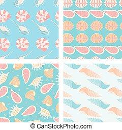 4, パターン, ベクトル, seashell., seamless