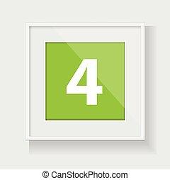 4, フレーム, 広場, 数