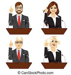 4, 別, マイクロフォン, 話すこと, 政治家