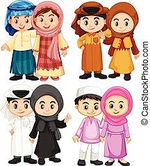 4, 子供, 恋人, muslim, 衣装, 伝統的である