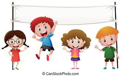 4, 子供, 旗, テンプレート, 幸せ