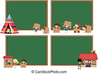 4, 子供, 板, テンプレート, 遊び
