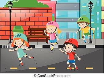 4, 子供, rollerskate, 道