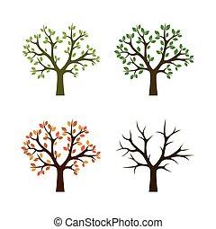 4, 季節, ベクトル, illustration., 木