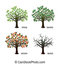 4, 季節, ベクトル, illustration., 木。