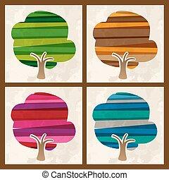4, 季節, 多色刷り, セット, 木