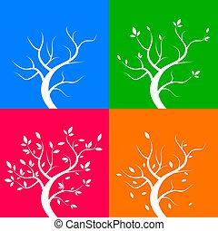 4, 季節, 木, ベクトル, イラスト