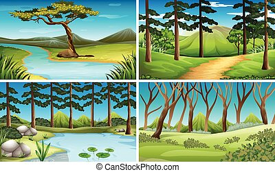 4, 川, 現場, 森林