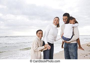 4, 幸せ, 浜, 家族, african-american